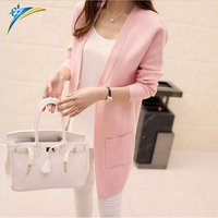 New Women Spring Autumn Sweater Outwear Coat 2019 Long Cardigan Korean Slim Pocket Loose Knit Sweater