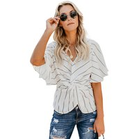 2019 New Fashion Design Summer Women V Neck Flare Sleeve Loose Blouse Tops