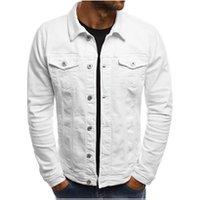 New solid color denim simple mens casual slim short jacket