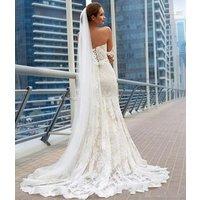 ZH0574X Lace Mermaid Wedding Dresses 2019 Off The Shoulder Applique Beach Wedding Dress Corset Plus Size Bridal Gowns