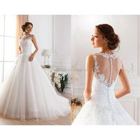 Muslim Designs Wedding Dresses Bridal Ball Gown See Through Lace Pattern wedding gown