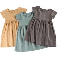2019 frocks party short sleeve toddler teenagers kids costume blank solid vintage girls linen dress
