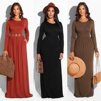 1888 9 colors high quality solid cotton dress long sleeve gowns