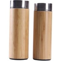 450ml Natural Bamboo Vacuum Cup Wholesale Stainless Steel Wood Bamboo Coffee Tea Cup Tumbler Custom Logo Creative Water Cup