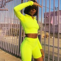 2019 Neon Yoga Set  Green Crop Top  Yellow Shorts Pants Plum Active Wear Roller Skating Wear Stylish Girl Iridescent Clothing