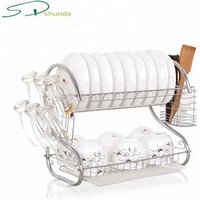Boutique Kitchen Steel Frame 2 Tier Dish Rack and Drain Board S Shape Double Draining Tray Design Effectively Dish Drying Rack