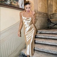 Strap satin sexy vintage long dress women backless lace up party bodycon maxi dresses Y10596