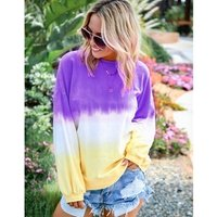women  ladies Gradient colour long sleeve thin T-shirt Long tie dye ladys jacket T shirts