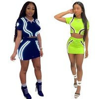 Neon Women Two Piece Set Fashion Reflective Striped Active Wear Tracksuit Crop Top And Mini Skirt Club Matching Sets Y11966