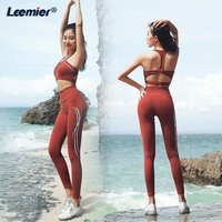 Fashion Women Gym fitness clothing 2 piece High Waist Yoga Leggings Set MOQ 1 Sexy Crop Top Solid Fitness Set Yoga Outfit