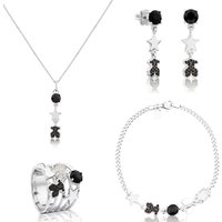100% 925 Sterling Silver Faceted Onyx, Star and Bear with Spinel Long Tassel Earrings Necklace Bracelet Ring Full Set