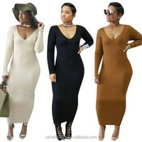 1018-CM1 good quality women v neck thick warm pencil maxi dress