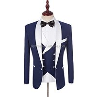 2019 Custom Made Groomsmen White Shawl Lapel Groom Tuxedos Blue Men Suits Wedding Best Man Blazer (Jacket+Pants+Vest+Bow Tie )