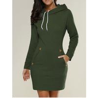 Ecowalson Women Long Sleeve Slim Hooded Pullover Zipper Tunic Sweatshirt Dress Hoodie with Pockets