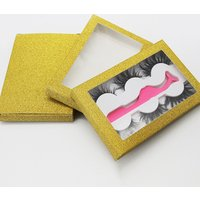 Lashes Custom Packaging 3 Pairs Lash Book With Tweezer Gold Glitter eyelashes package box