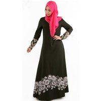 Islamic Abaya Dresses Women Arab Ladies Kaftan Dress Dubai Print Muslim Clothing Y10433