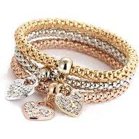 Fashion Three Colors Gold charm rhinestone heart bracelet set for women wholesale N95203