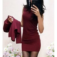 Fashion Autumn Women Suits Sexy Round Neck Dress Full Sleeve Casual Coat Two Pieces  Sets