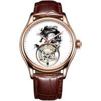 New High Quality Fashion Luxury gemstone Men Watches Real Tourbillon Watch leather Mechanical Dragon Wristwatch Automatic Clock