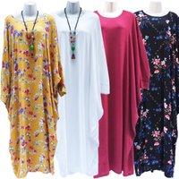 2018 Hot selling design flower Rayon cotton women abaya kaftan with big size
