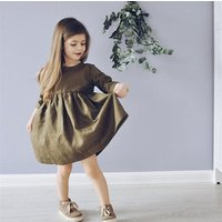 Customized girl new cotton and linen dress fashion solid color cotton and linen pleated skirt princess dress