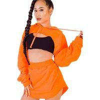 Sexy Crop Top 2 Pieces Clothes Ladies Women Tracksuit Set Short Sweatsuit Hoodies Dress Suit