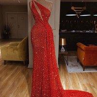 Elegant one shoulder Red Evening Gowns Sexy Evening formal Dress 2019  one shoulder vestidos