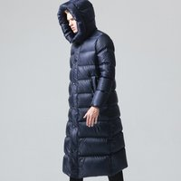 Custom Men Waterproof Shiny Nylon Long Down Jacket for Winter Coat