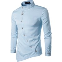 Custom Casual Personality Oblique Irregular Mens Dress Shirt