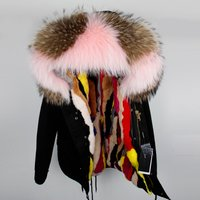 Women Ladies Winter Warm Coat Hooded Pink Faux Fur Parka