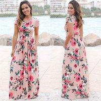 Custom Lady Dress Summer Shirt Girl Floral Print Short Sleeve Casual Woman Evening Dress