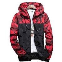 Wholesale Custom Logo Fashion Hip Hop Camouflage Hooded Windbreaker Jackets Coat Men