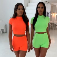 2019 June New Fashion Style  Womens Two Piece Crop Tops And Shorts high waist sport tracksuit turtleneck Top