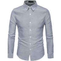 Hot Sales Premium Long Sleeve Striped Causal Grey Dress Shirt For Mens