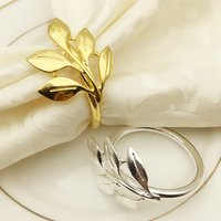 wedding  gold silver Metal leaf napkin ring