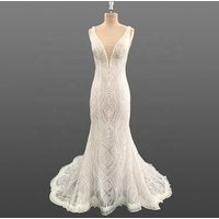 Luxury Beaded Lace Mermaid Wedding Dress Bridal Gown