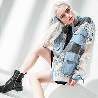 A3062 Brown Jacket Lace Denim  Buttons Coat Hip Hop Girl  Lace Blazer