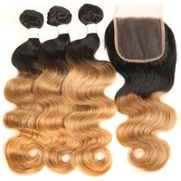 Cheap body wave human hair extension ombre 1b 27 hair color brazillian hair bundles with closure
