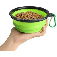 'Folding Silicone Pet Bowl Portable Dog Bowl With Carabiner 350ml