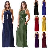 FX137 Fashion plus size Sleeveless maxi long Dresses Solid Color Hot sell Soft Materia Summer Women Long casual Dress