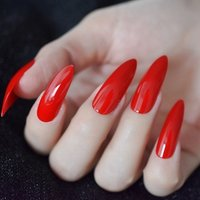 Classical Chinese Red False Nails Extreme Long Glossy Sugar Nails for Fingers UV Gel DIY Manticure Tips Party Nail