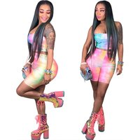 A2042 women printed strapless crop top and shorts 2 piece set outfit women summer fashion clothing
