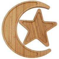 Creative design star moon shape appetizer platter bamboo food serving tray
