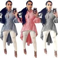 New fashion Women Casual Long Sleeve Striped Print Shirts Fashion Blouse Top