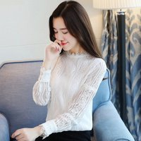 or30048a hollow out stand collar ladies lace blouse women tops