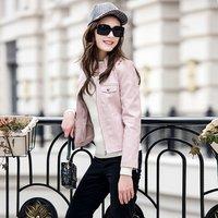Varsity pink cheap women baseball pu leather jacket