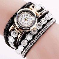 Duoya Brand Crystal Round Dial Luxury Wrist Watch For Women Dress Gold Ladies Casual Women Bracelet Watch Dy038