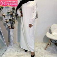 5754# cotton  long sleeve Guangzhou factory wholesale printed fashion dress  abaya kaftan  women clothing