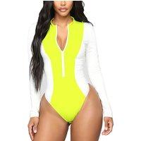 Custom neon yellow bathing suits Long Sleeve ladies jumpsuit blouse tops plus size Neon sexy bodysuit of women Skinny clothing
