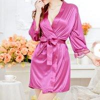 Wholesale women see through sexy lingerie satin silk kimono robe